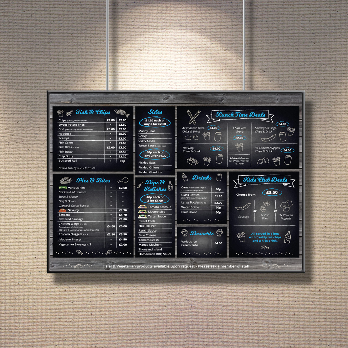 Cod Chips Menu Board